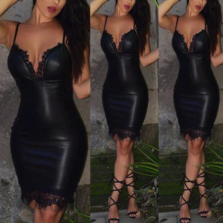Ladies Fur Trimmed Leather Dress - Women Summer PU Leather Slim Bandage Bodycon Sleeveless Club Evening Party Mini Dress