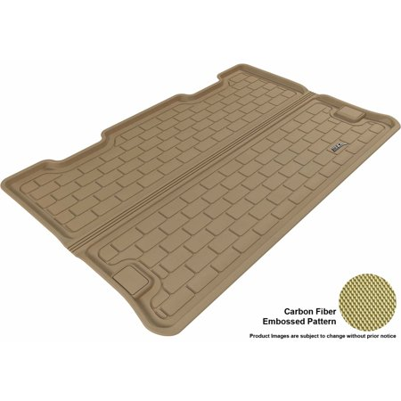 3D MAXpider 2007-2014 Chevrolet Suburban All Weather Cargo Liner in Tan with Carbon Fiber Look Chevrolet Suburban Carbon Fiber
