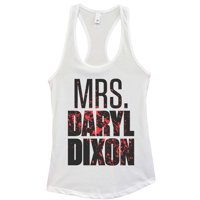 "Womens Basic Tank Top ""Mrs Daryl Dixon"" Walking Dead Shirt - Funny Threadz Medium, White"