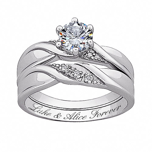 Personalized Women's Sterling Silver White Topaz and Diamond Engraved Wedding Set, 2 Piece by Generic