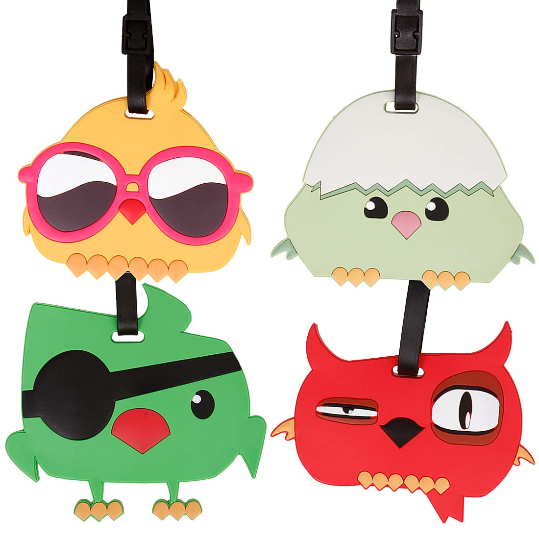 Bundle Monster 4pc Mixed Bird Design Silicone Luggage ID Bag Tags - Set 6