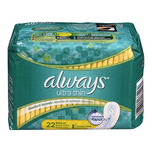 4 Pack - Always Ultra Thin Regular Pads without Wings, Unscented, 22 Each