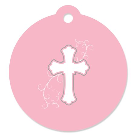 Little Miracle Girl Pink & Gray Cross - Baptism Party Favor Tags (Set of 20) for $<!---->