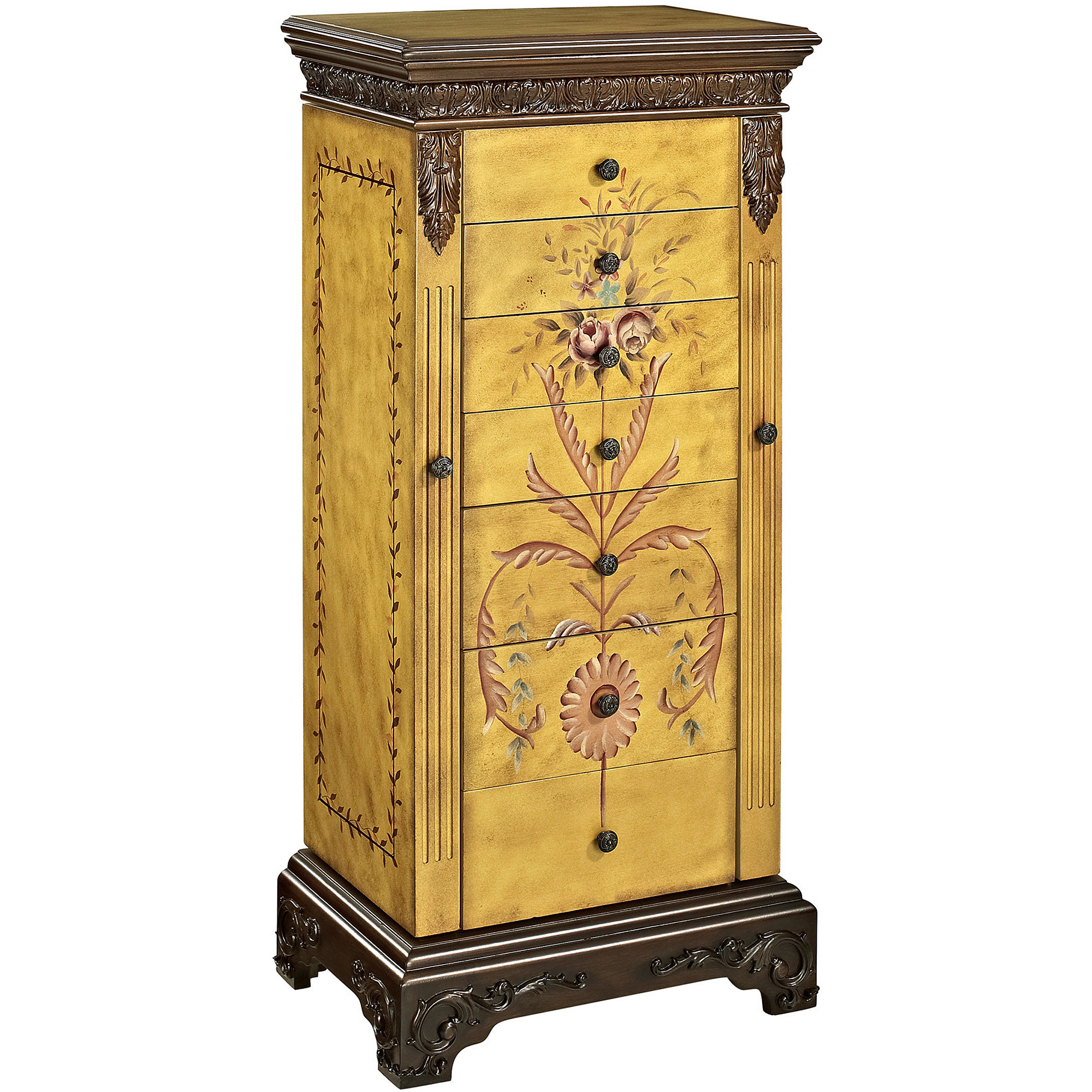 Masterpiece Hand-Painted Jewelry Armoire, Antique Parchment