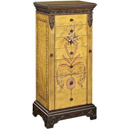 Painted Wide Armoire - Powell Masterpiece Hand-Painted Jewelry Armoire, Antique Parchment