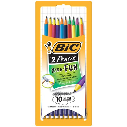 BIC Xtra Fun Pencil, #2 HB lead, 10-Count