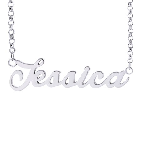 "Lovefir Classic ""Jessica"" With Sterling Silver Plated Copper Name Necklace For Mother Wife Girlfriend"