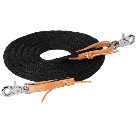 BLACK WEAVER 10 FT POLY ROPER TACK HORSE REIN BROWN LEATHER WATER LOOP (Water Loop Split Reins)