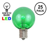 Novelty Lights 25 Pack G30 LED Outdoor String Light Patio Globe Replacement Bulbs, 3 LED's Per Bulb, Energy Efficient