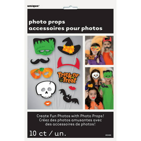 Trick or Treat Halloween Photo Booth Props, 10pc - Halloween Trick Or Treat Games