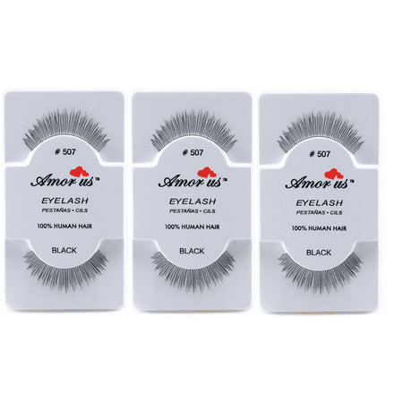 LWS LA Wholesale Store  3 Pairs AmorUs 100% Human Hair False Long Eyelashes # 507 compare Red Cherry - Longs Wholesale