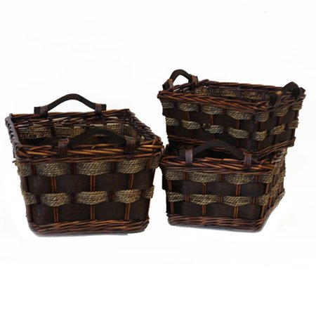 Baum Rectangular Baskets with Wood Handles, Set of 3, Walnut