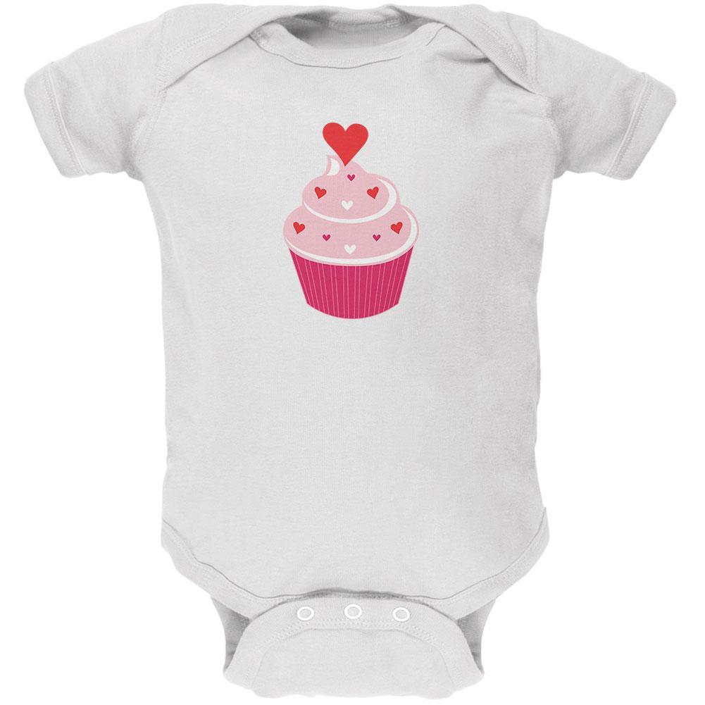 Valentine's Day Heart Cupcake White Soft Baby One Piece