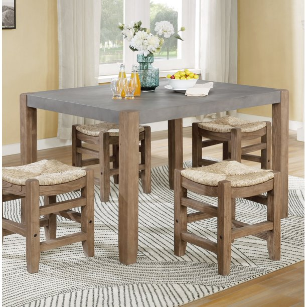 "Newport 30""H Faux Concrete and Wood Loft Dining Table"