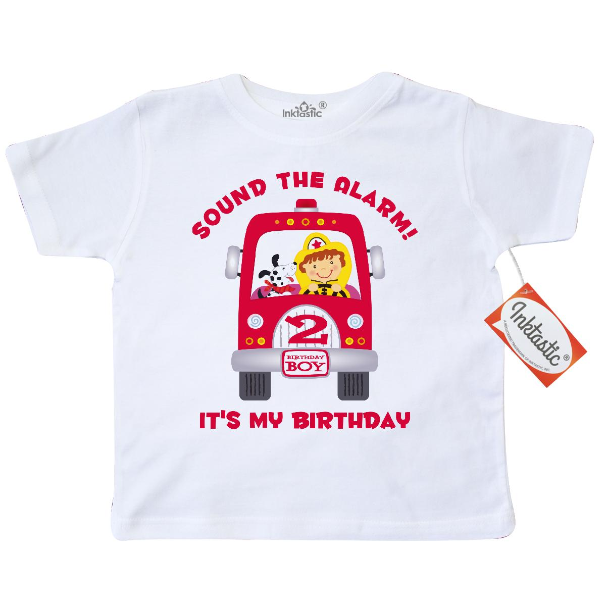 bdebf6489 Inktastic Fire Truck 2nd Birthday Boy Toddler T-Shirt Engine Fighter Fireman  Dalmatian Sound The Alarm Pinkinkartkids Second Baby Babies Gifts For  Toddlers ...