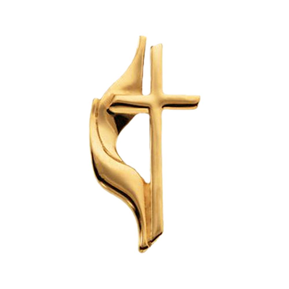 14K Yellow Gold Methodist Cross Pin Brooch by