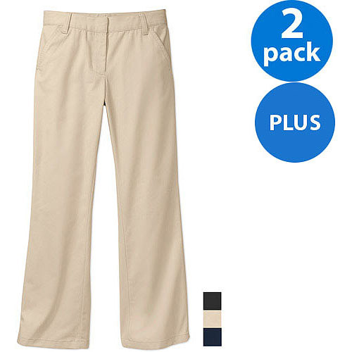 George Girls Plus Sizes School Uniforms Flat Front Pants with Scotchgard, 2-Pack Value Bundle Online Exclusive