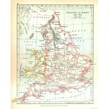 Map Of England And Wales.Old Great Britain Map England And Wales In 1660 Gardiner 1902