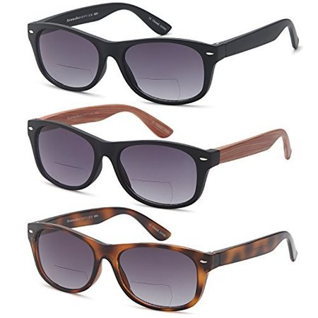 GAMMA RAY 3 Pack of Vintage Style Bifocal Sunglasses Readers w Gradient Lens UV400 Protection Outdoor Reading Glasses for Men and Women - Choose your Magnification ()