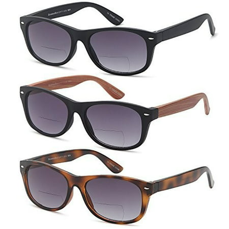GAMMA RAY 3 Pack of Vintage Style Bifocal Sunglasses Readers w Gradient Lens UV400 Protection Outdoor Reading Glasses for Men and Women - Choose your (Raw Sunglasses)