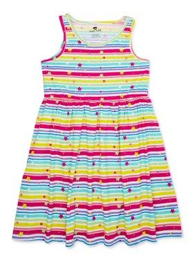 Pink Velvet Girls Jersey Flare Summer Play Dress, Sizes 4-12