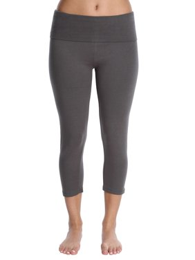 Blis Women Yoga Workout Legging Capri Pant with Foldover Color Waistband Standard Plus and Maternity Olive Size 5X