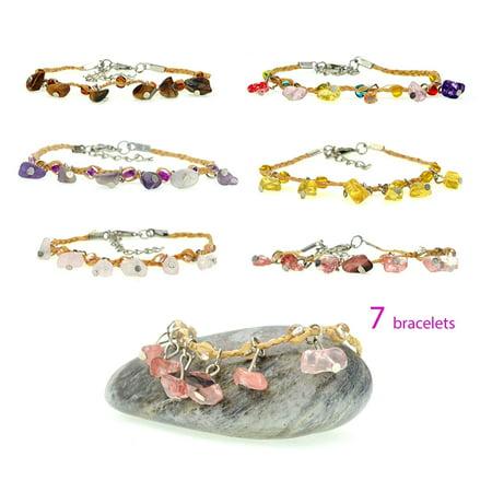 Handmade Braided Woven Hemp Multicolor Glass Bead Adjustable Cord Bracelet – Set of 7 Bracelets Bead Hemp Bracelet