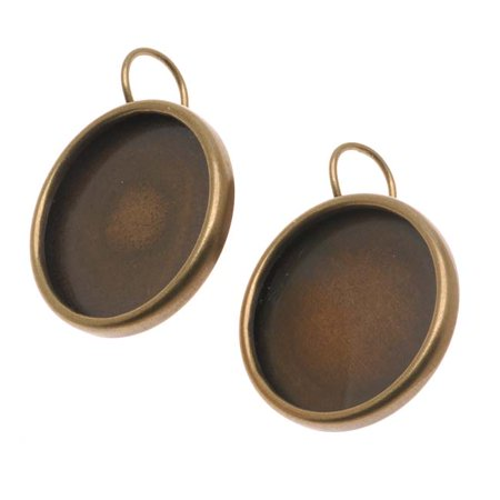 Antiqued Brass Round Bezel Earring Findings - 18.5mm Diameter (1 Pair)