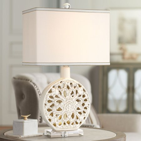 Outstanding Possini Euro Design Chic Table Lamp With Nightlight Led Ceramic Antique White Medallion Rectangular Shade For Living Room Family Download Free Architecture Designs Pushbritishbridgeorg