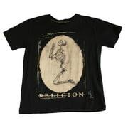 RELIGION Boy's Black Skeleton Printed Short Sleeve Shirt Black