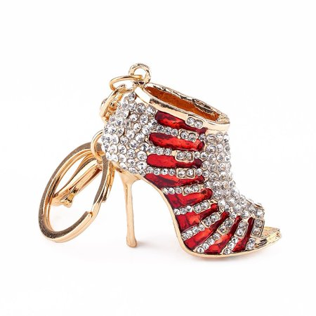 Enamel Keychain Key Ring - Crystal Rhinestone Diamante High Heel Shoe Decoration Multicolor Enamel Keychain for Phone Car Bag Key Ring Charm Gift for Women Ladies Girls' Phone Key Bag