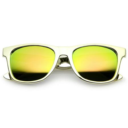 Retro Metallic Square Colored Mirror Lens Horn Rimmed Sunglasses 55mm (Gold / Yellow (Retro Square Sunglasses)
