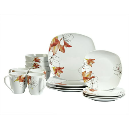Tabletops Gallery Lily Square 16 Piece Dinnerware Set, Floral Pattern