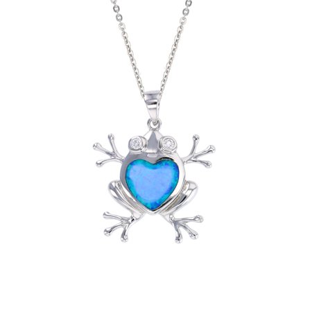 ZilverZoom Sterling Silver Blue Opal Frog Pendant Free Sterling Silver 18