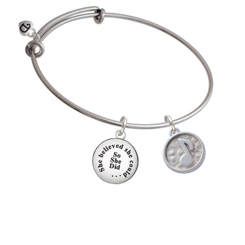 Music Note - Round Seal She Believed She Could Bangle Bracelet