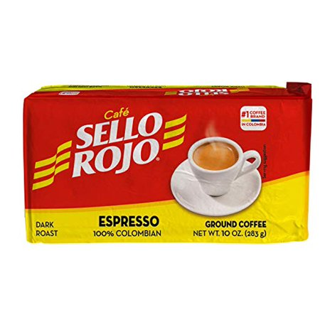 Cafe De Colombia Jersey (Cafe Sello Rojo 100% Colombian Espresso Coffee 10 oz)