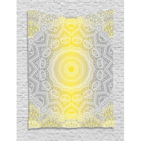 Grey and Yellow Tapestry, Mandala Ombre Old Boho Pattern with Spiral Round Floral Print, Wall Hanging for Bedroom Living Room Dorm Decor, Yellow Grey, by Ambesonne - Print Mandala