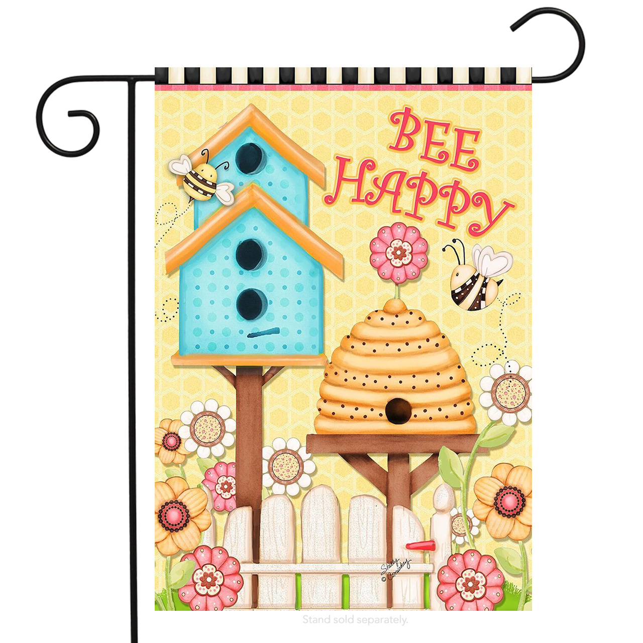 "Bee Happy Spring Garden Flag Beehive Birdhouse Floral 12.5"" x 18"" Briarwood Lane by"