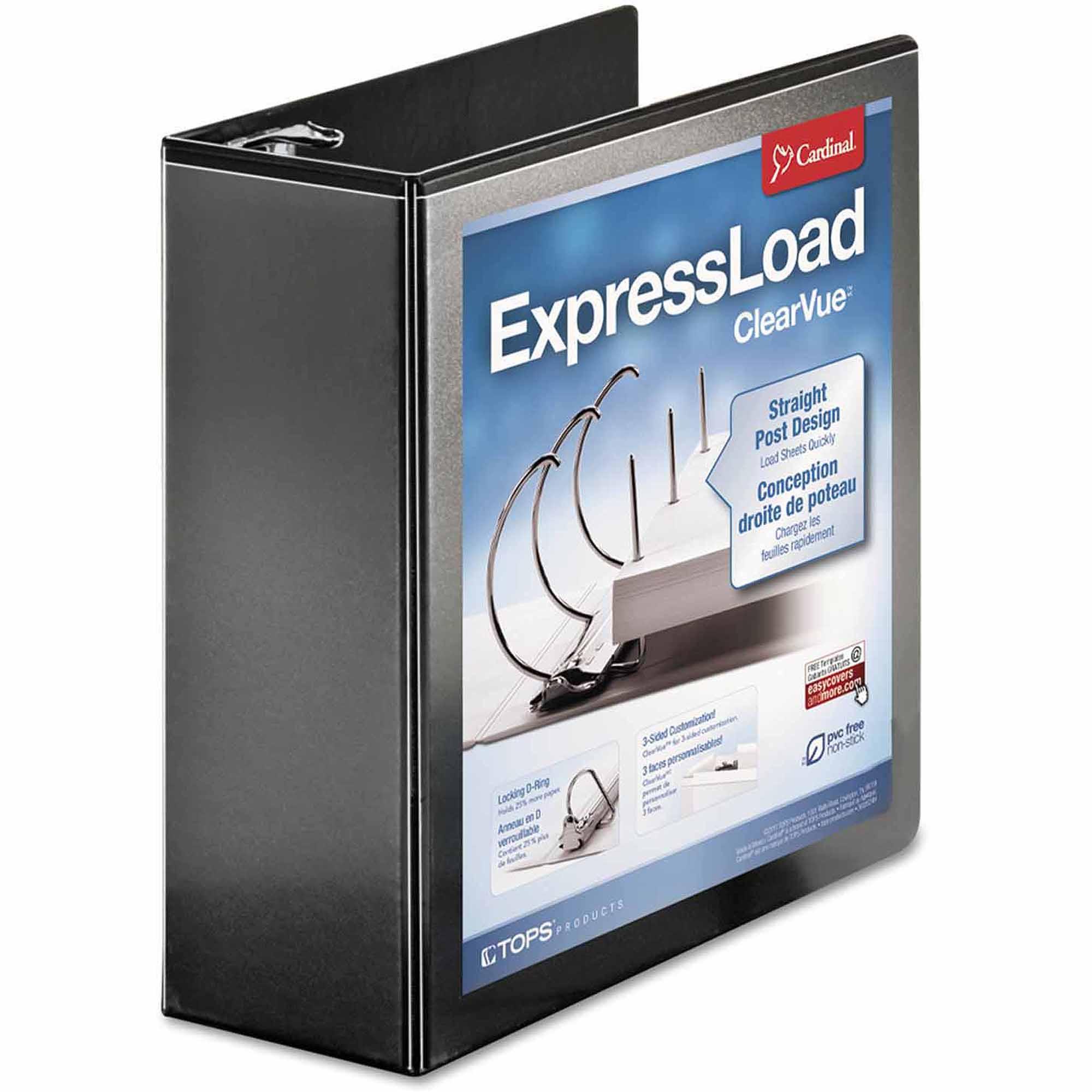 "Cardinal ExpressLoad ClearVue Locking D-Ring Binder, 4"" Capacity, Black"