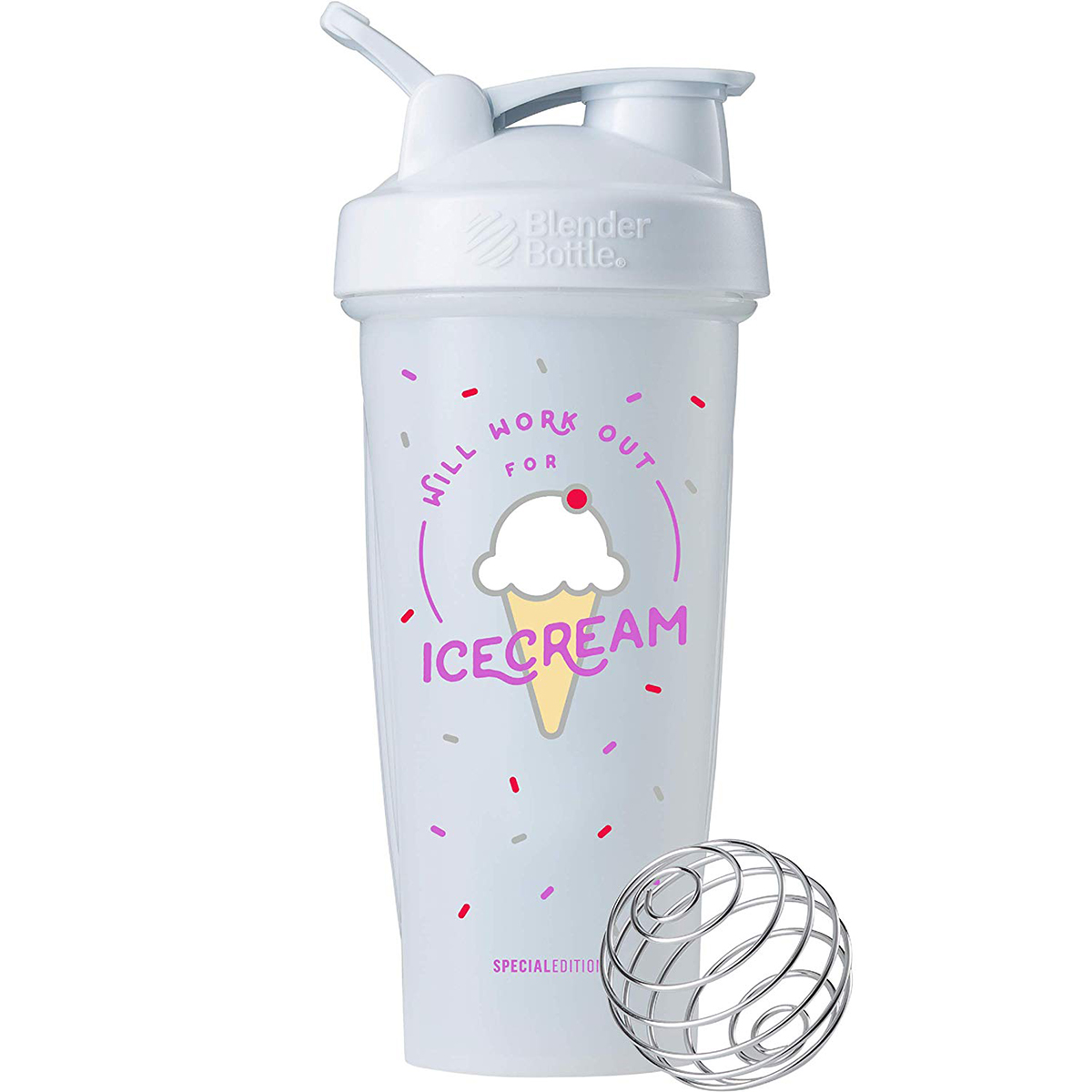 Blender Bottle Special Edition 28 oz. Shaker w/ Loop Top -Work Out For Ice Cream