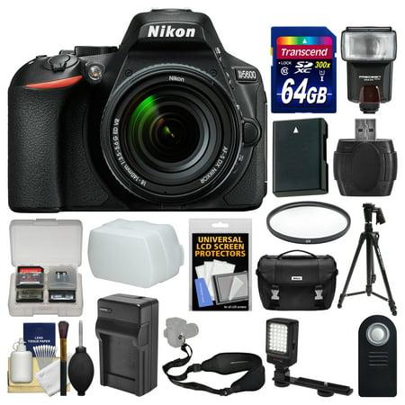 Nikon D5600 Wi-Fi Digital SLR Camera & 18-140mm VR DX AF-S Lens with 64GB Card + Case + Flash + Video Light + Battery & Charger + Tripod + Filter Kit (Light Meter Nikon)