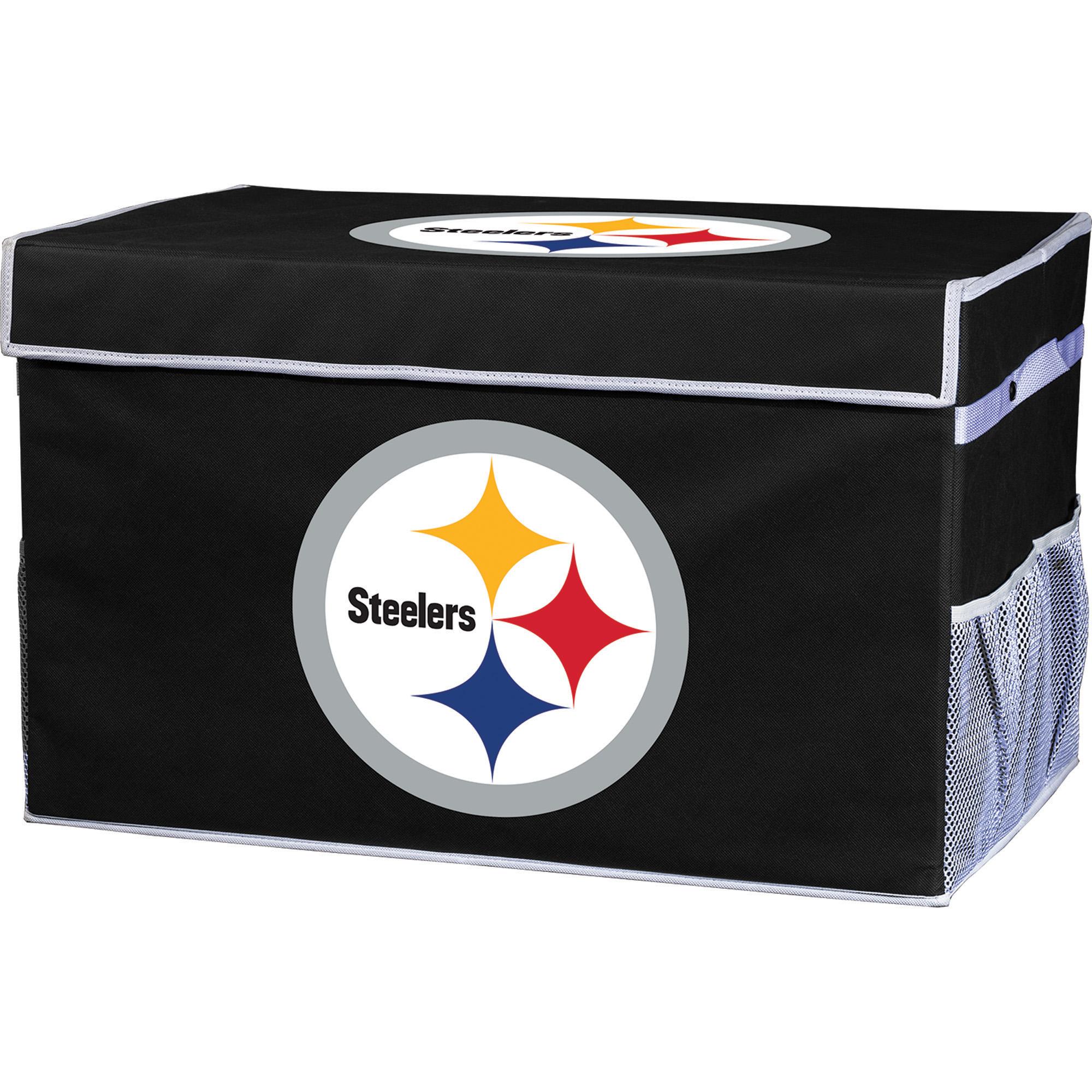 Franklin Sports NFL Pittsburgh Steelers Collapsible Storage Footlocker Bins - Large