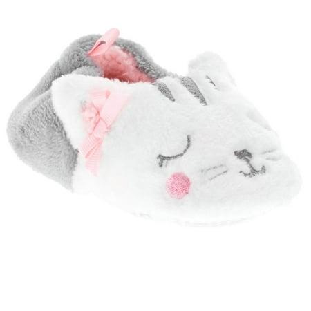 Girls White Slippers (Infant Girls Plush White Kitty Cat Baby Kitten Slippers Prewalk House)
