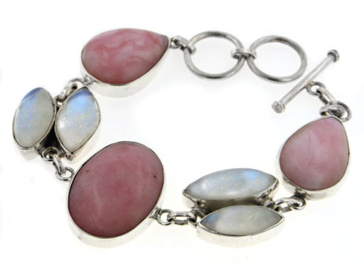 Sterling Silver Large Peruvian Pink Opal and Rainbow Moonstone Gemstone Toggle Bracelet Gift Boxed by