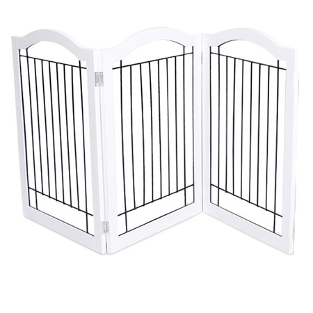 Internet's Best Wire Dog Gate with Arched Top | 3 Panel | 30 Inch Tall Pet Puppy Safety Fence | Fully Assembled | Durable MDF | Folding Z Shape Indoor Doorway Hall Stairs Free Standing |