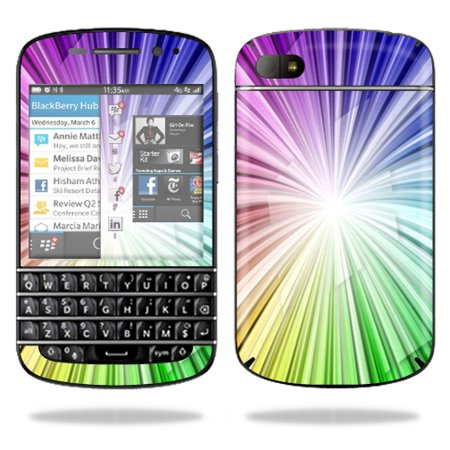 Mightyskins Protective Vinyl Skin Decal Cover for BlackBerry Q10 Cell Phone  SQN100-3 wrap sticker skins Rainbow Explosion