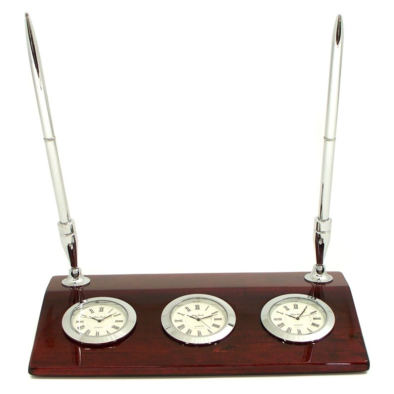 Bey-Berk International Triple Time Zone Desk Clock with Pen Set by Bey Berk