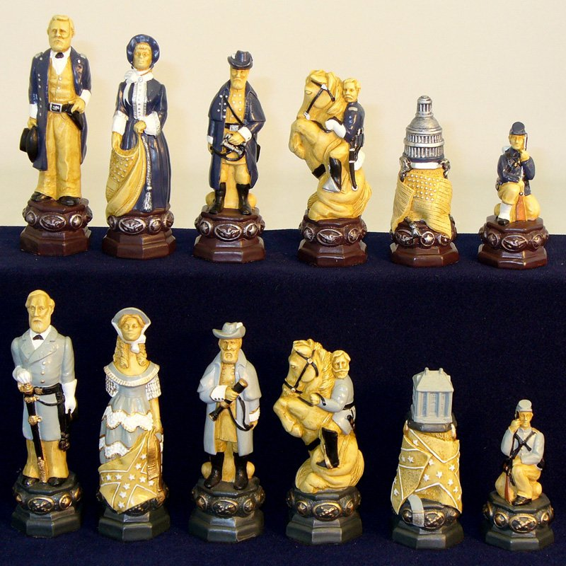 Civil War Painted Resin Men Chesspieces