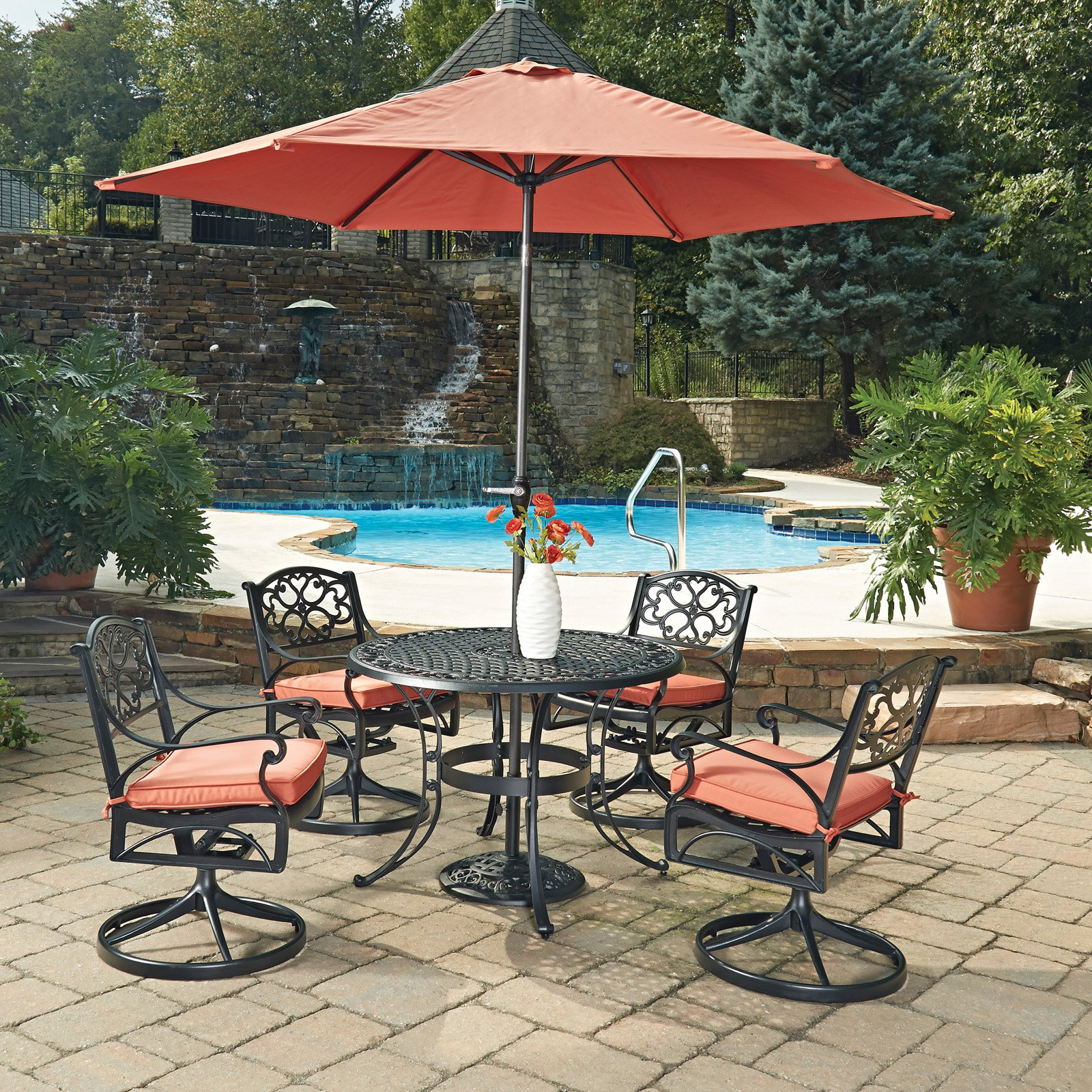 Biscayne Black Round 7 Pc Outdoor Dining Table, 4 Arm Chairs with Cushions & Umbrella with Base
