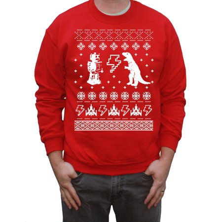 Happy Family Clothing Geeky Ugly Christmas Sweater Hilarious Robot and T-rex Funny Tacky Sweaters for Men or Women ()